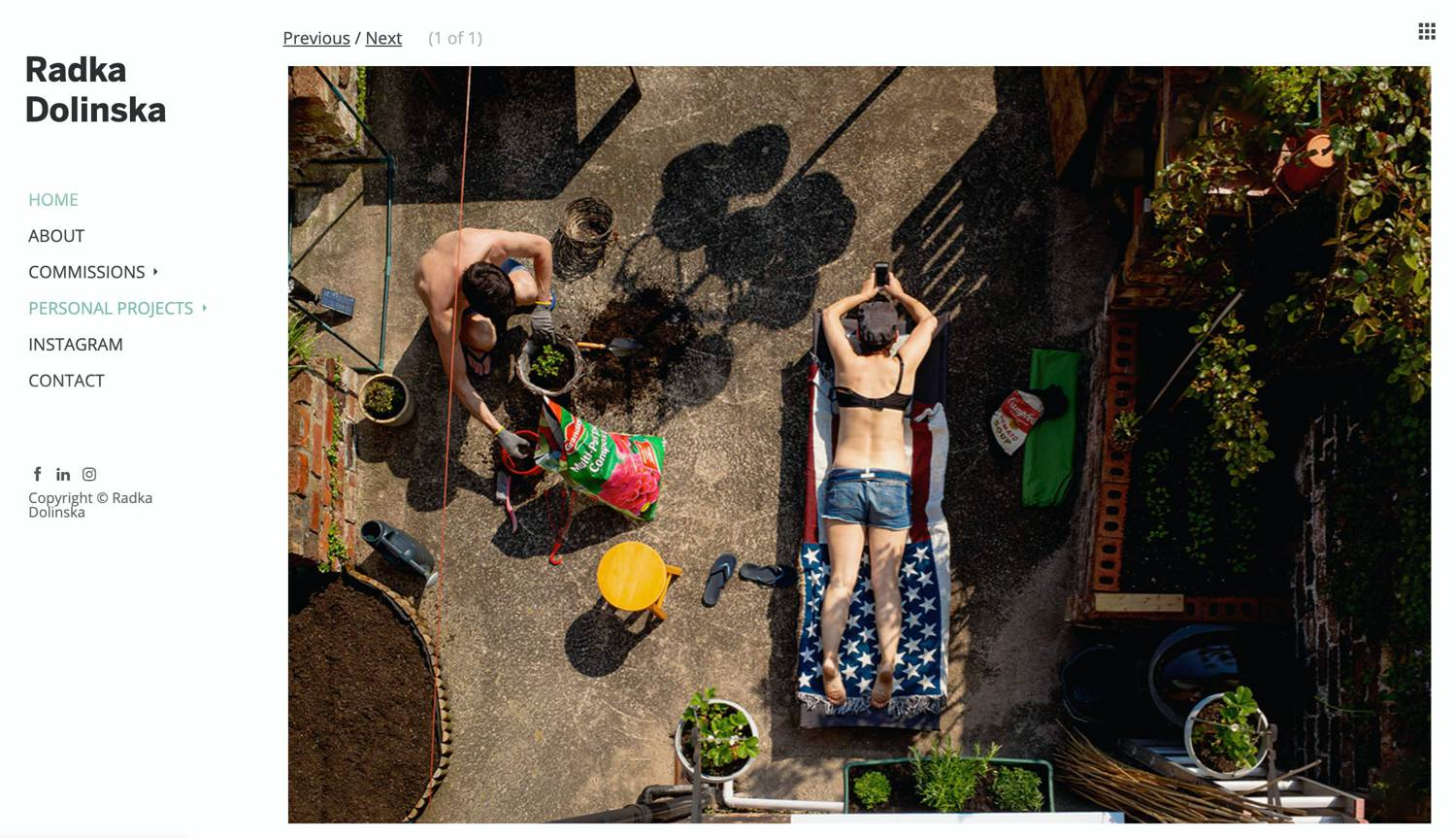 Website: Radka Dolinska's overhead image shows a man potting plants on a patio as his partner reclines on a lounge chair.