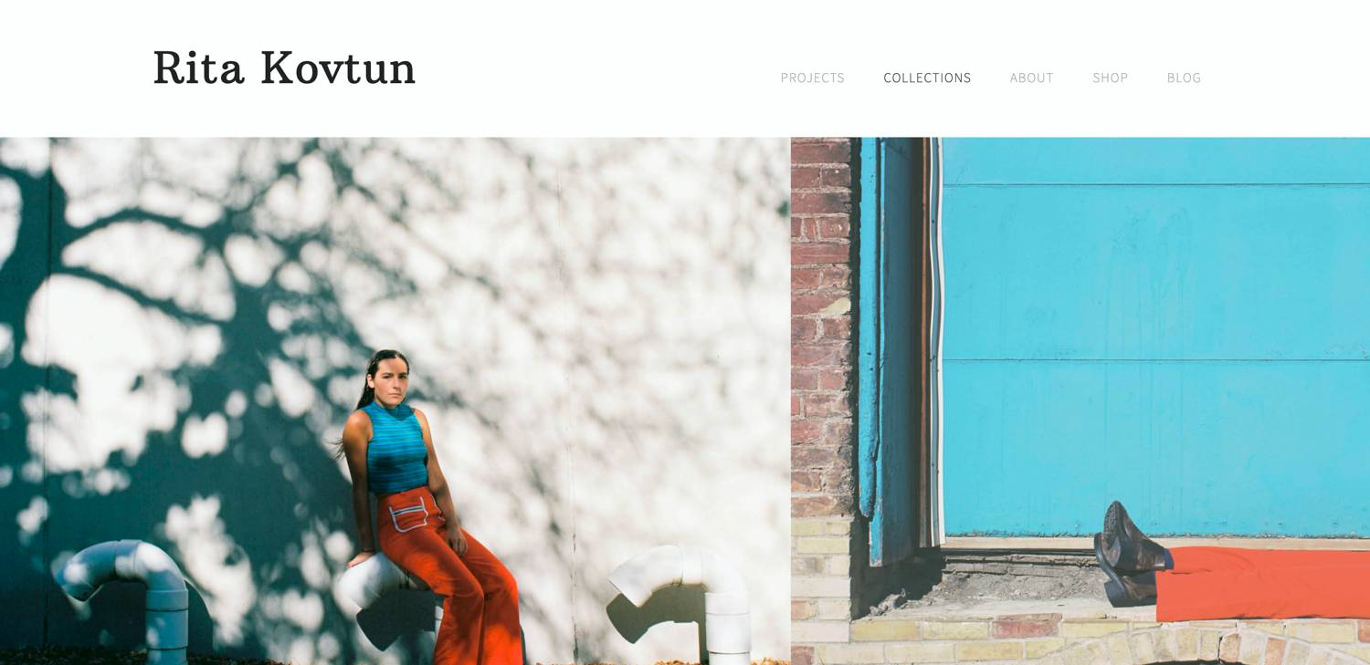 Website: Rita Kovtun's colorful series shows a woman in a bright blue top and orange pants leaning against a shadowy wall.