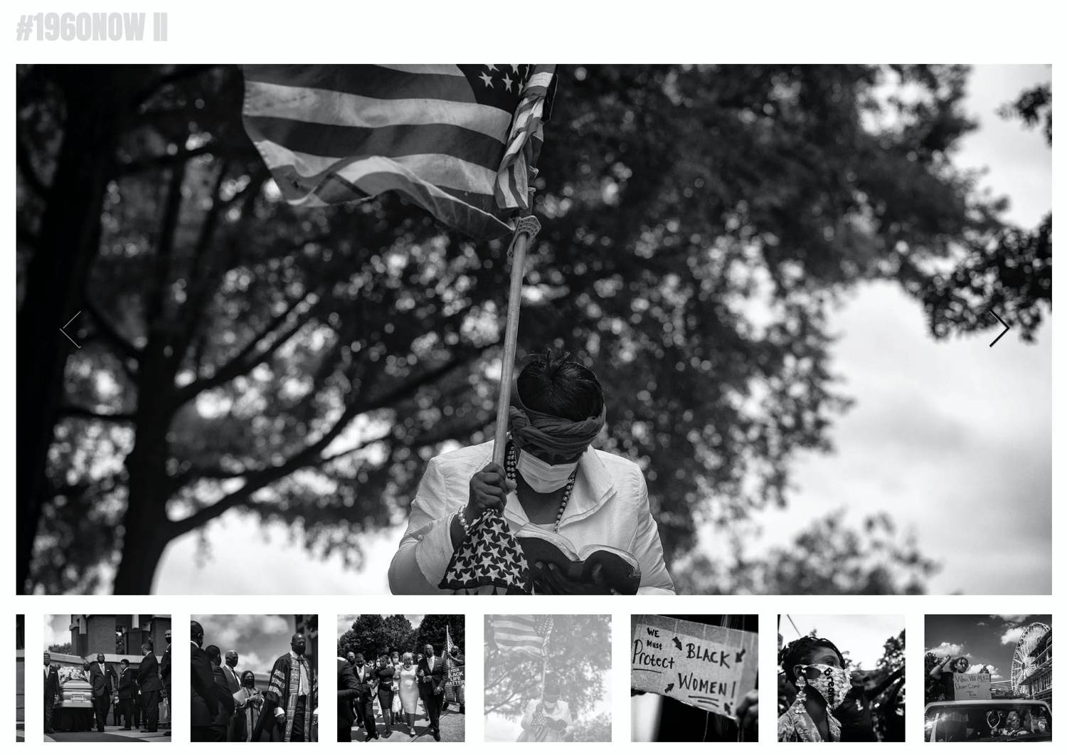 Website: Sheila Pree Bright's series of mourners and protesters holding American flags and begging for the violence against Black people and People of Color to stop.