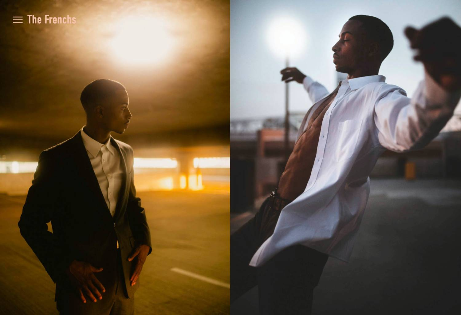 Photos: The Frenchs lifestyle fashion portraits of a young man in a parking garage.
