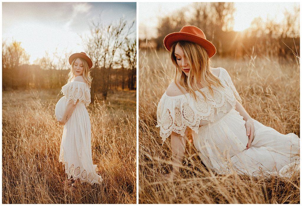 pregnant woman in white dress