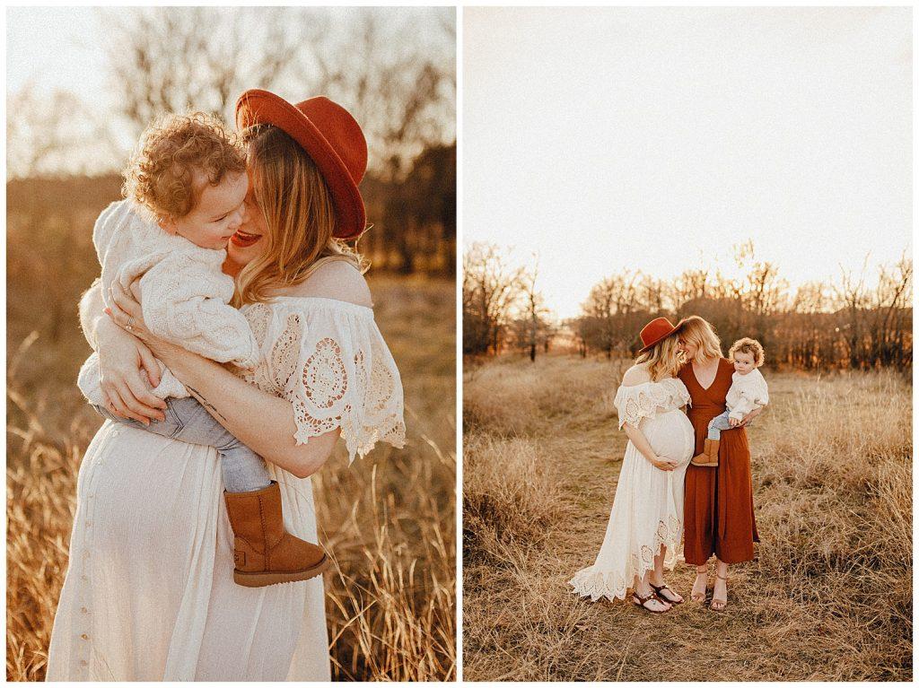 family in golden field