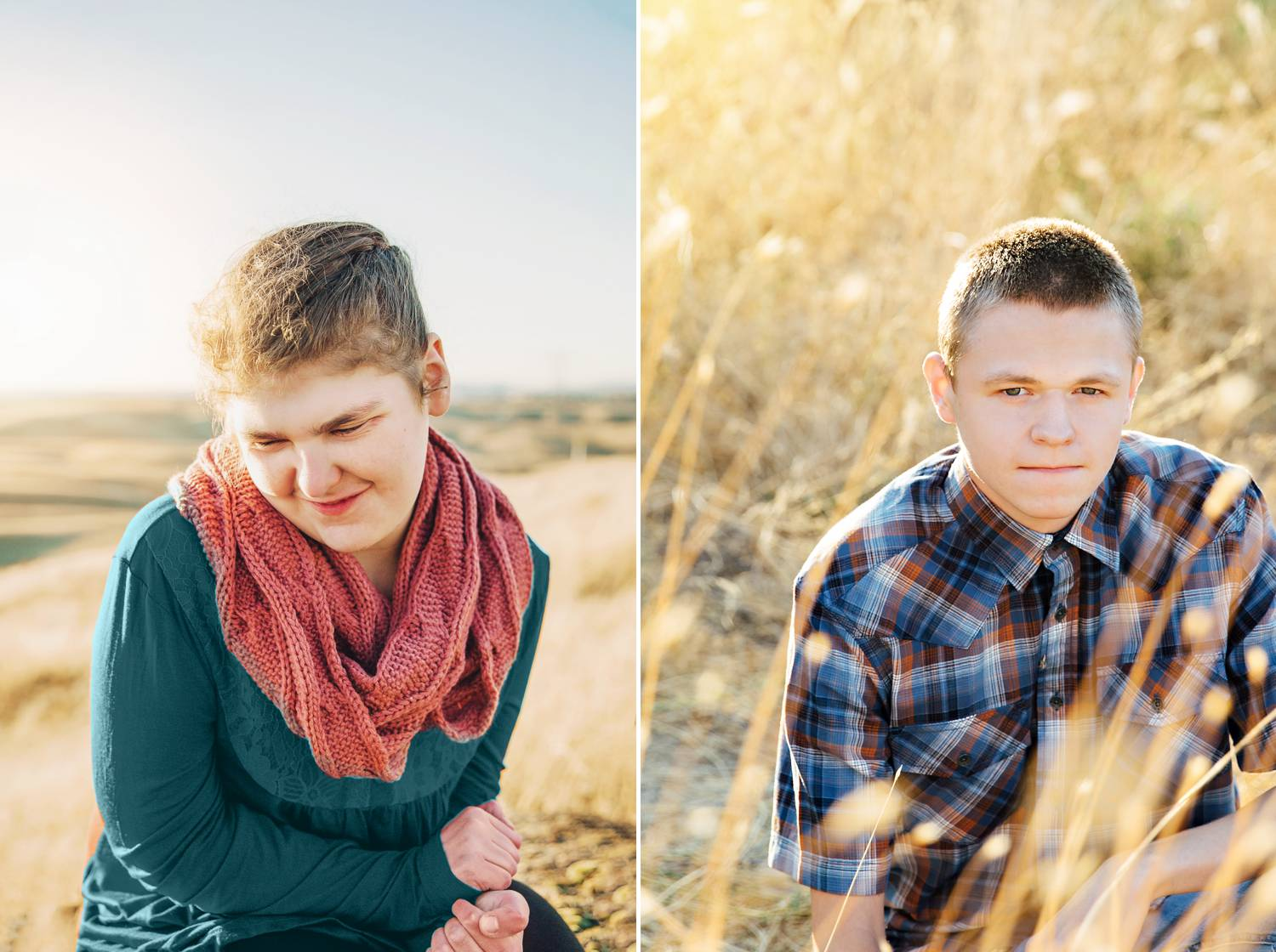 This diptych shows portraits of two high schoolers with special needs. In one, a girl looks down and to the side, her creamy skin highlighted by a setting sun in a beautiful wide field. In the other, a handsome young man makes eye contact with the camera while sitting comfortably on the ground in a wheat field.