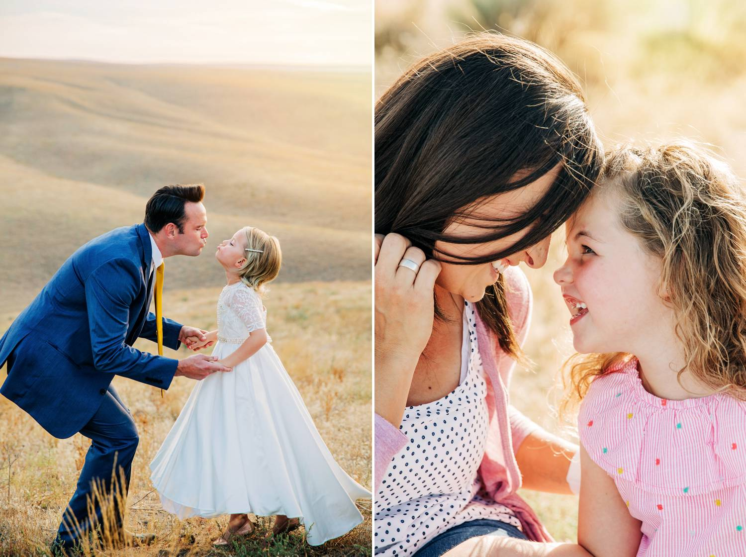 A dad plays wedding with his little girl, who is dressed as a bride. A mom bumps foreheads with her young daughter.