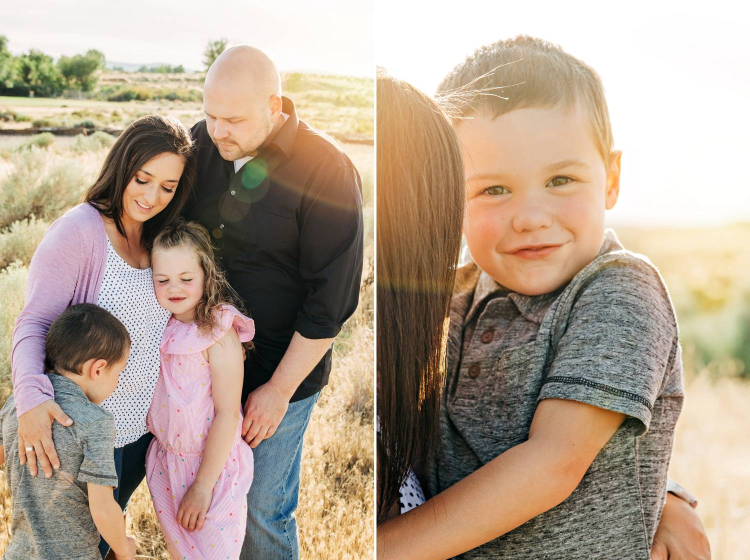 A family with special needs children poses for portraits by Danielle Torres
