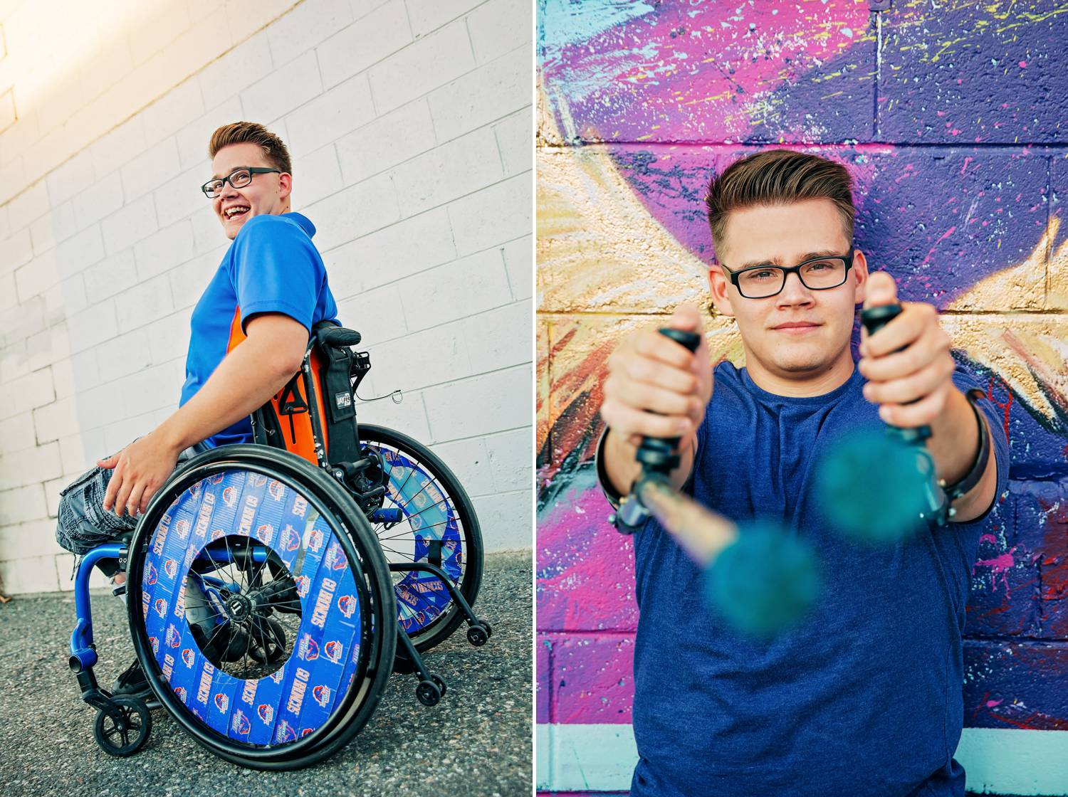A young man laughs and goofs around while getting photographed in his colorful wheelchair.