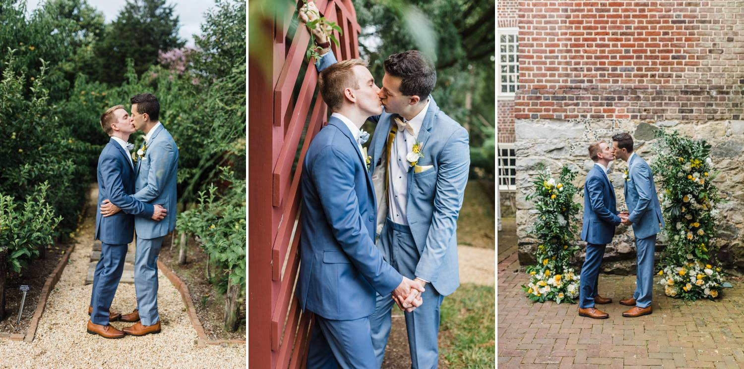 Three photos show two grooms kissing lighting during their wedding portraits