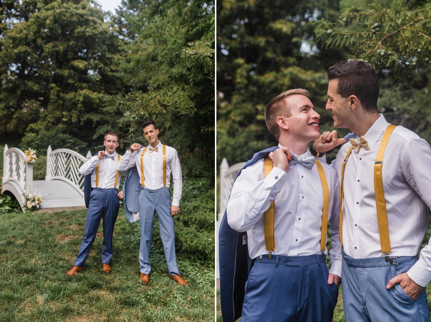 Two grooms hold their suit jackets over their shoulders and pose for a wedding portrait