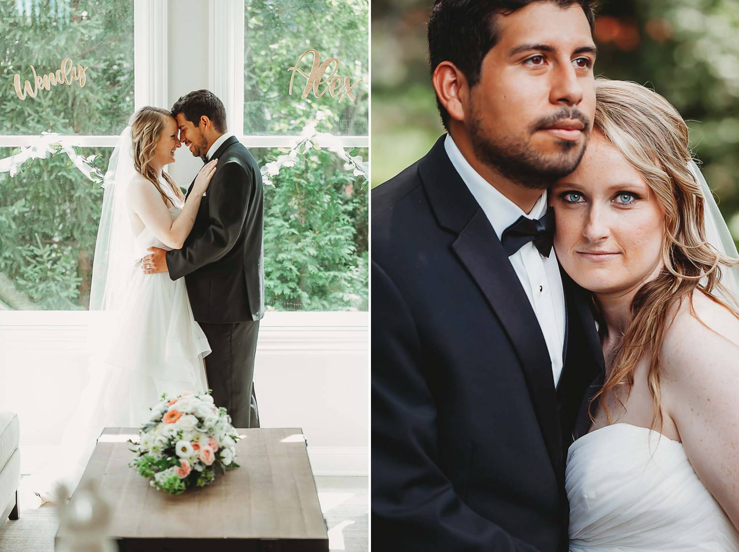 A bride and groom hold one another close for both indoor and outdoor portraits