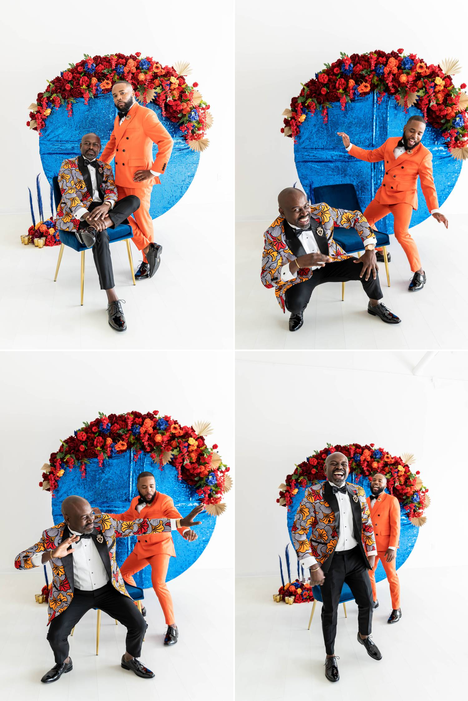 Two Black Atlanta grooms elope in an bright daylight studio owned by LaJoy Cox, a celebrity photographer