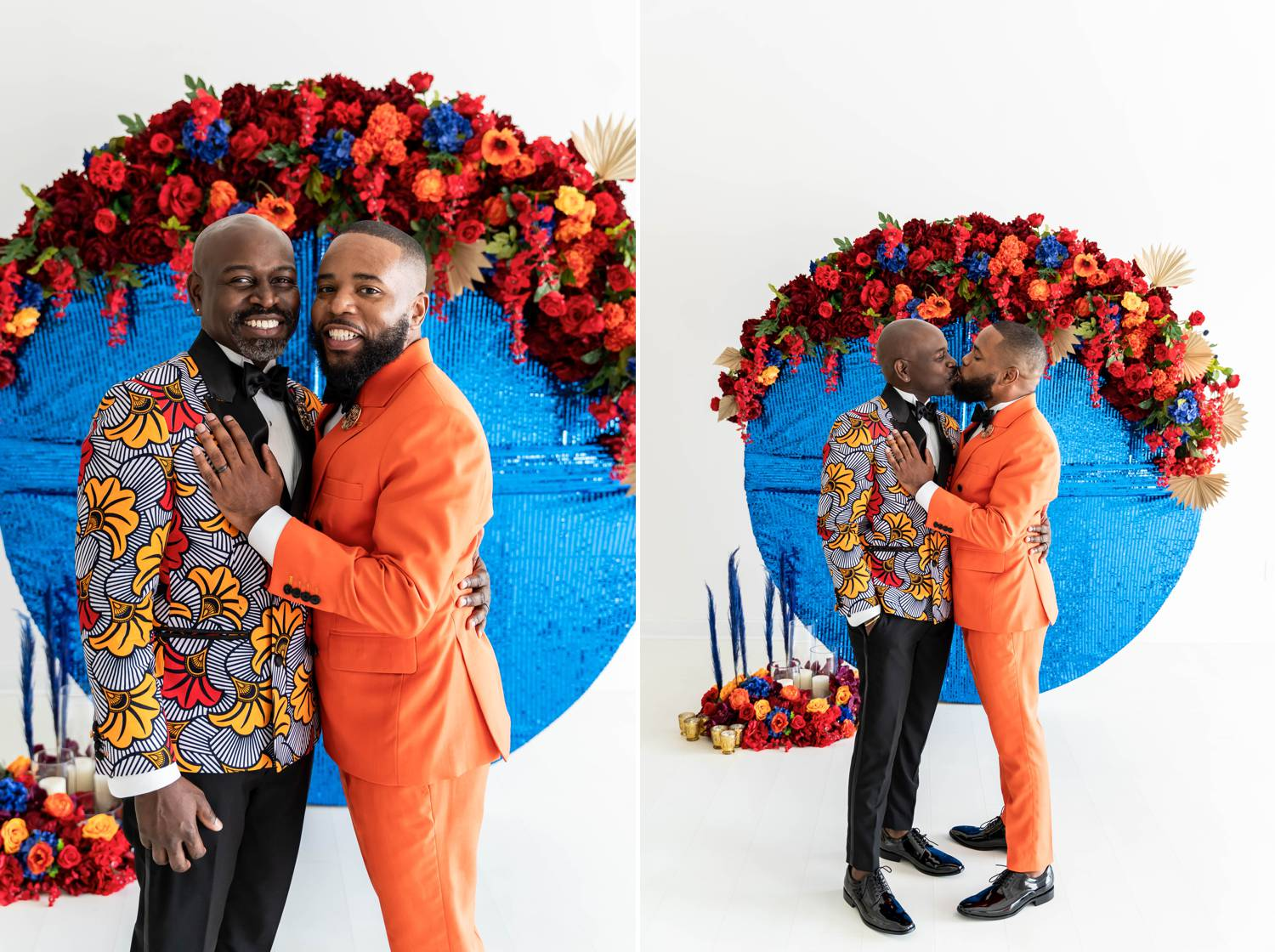 Two vibrantly dressed Atlanta grooms wear bold oranges and blues to celebrate their marriage