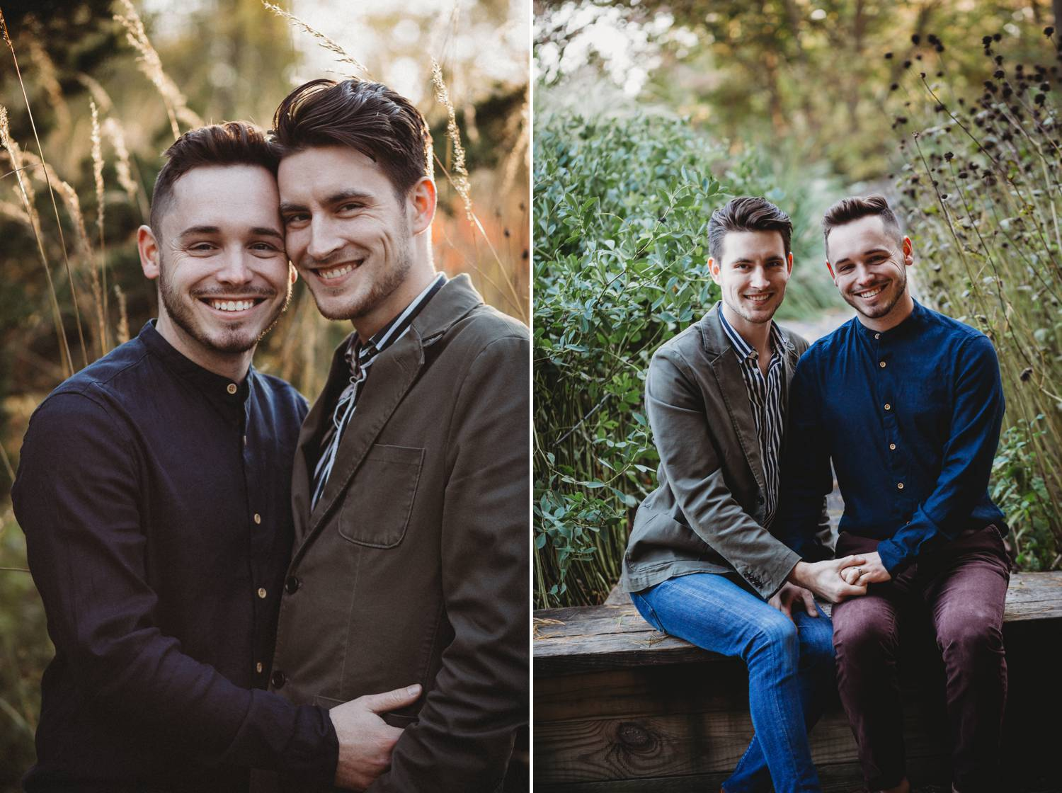 Two engaged men smile for the camera while snuggled close in a lush park
