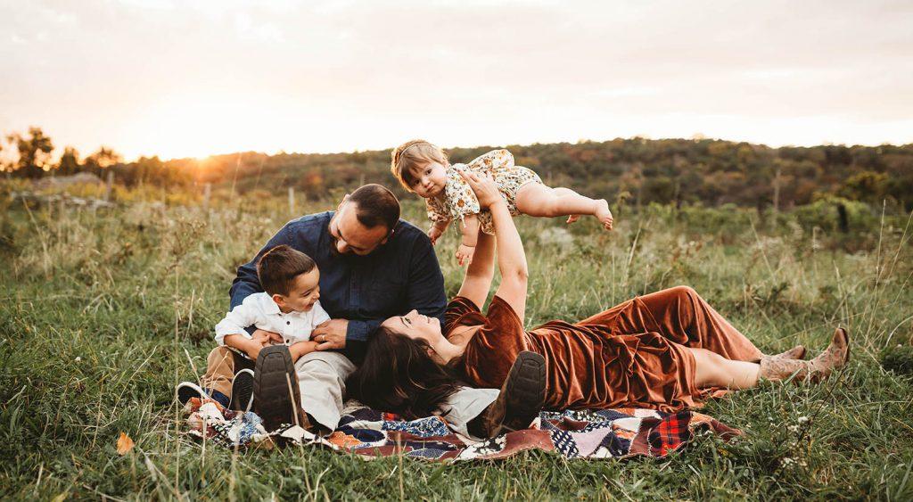 Boho family picnic at twilight