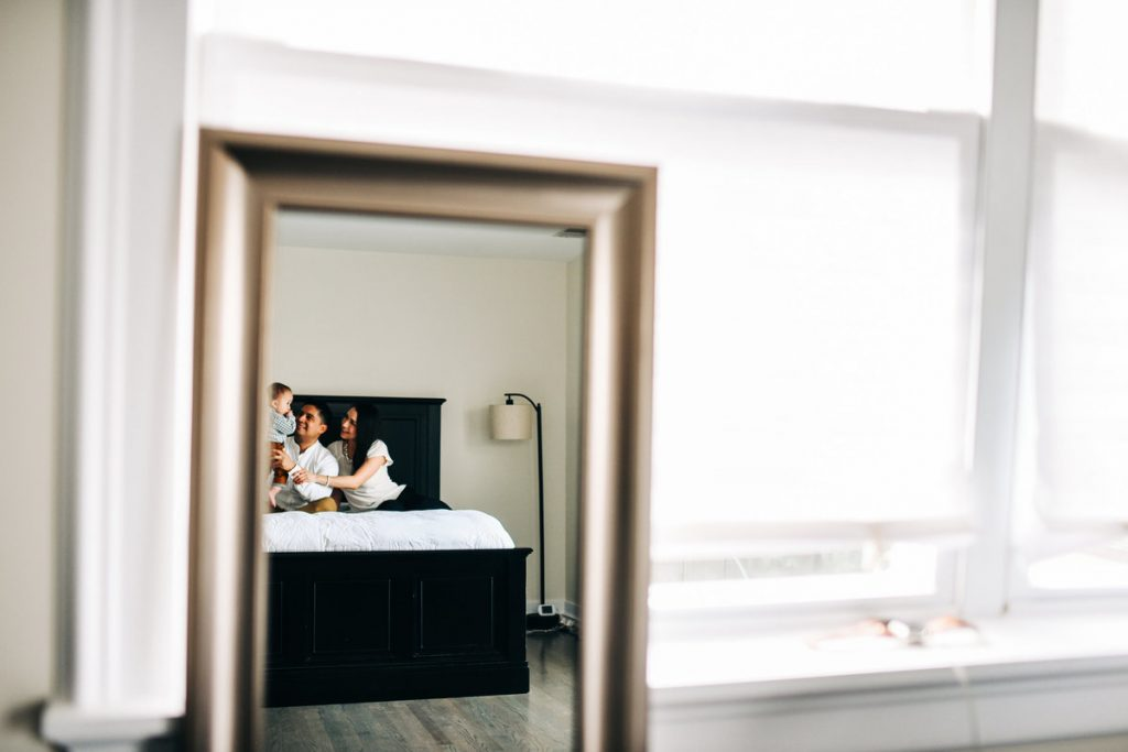 family in mirror