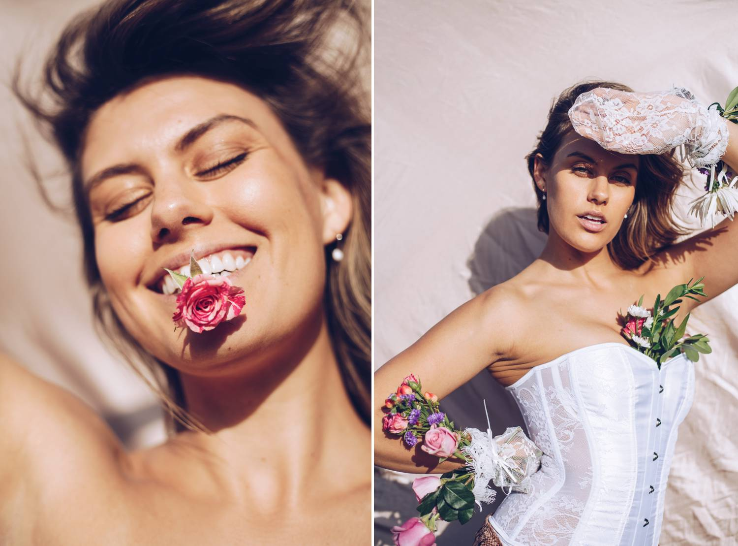 Full Sun Photographs with a Rose and White Corset