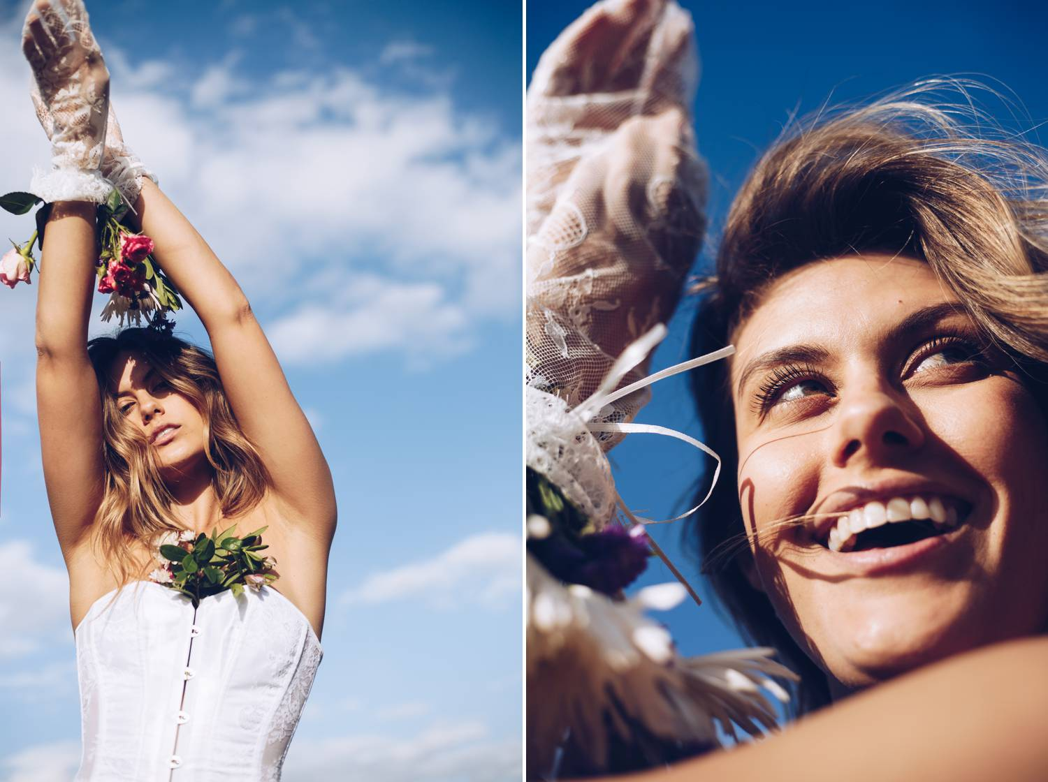 A smiling model poses against a bright blue sky for beauty photography