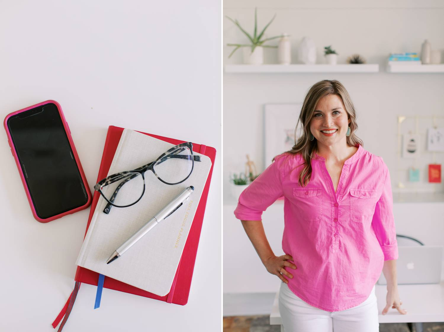 Katie Wussow stands in her bright, clean office wearing a bright pink shirt
