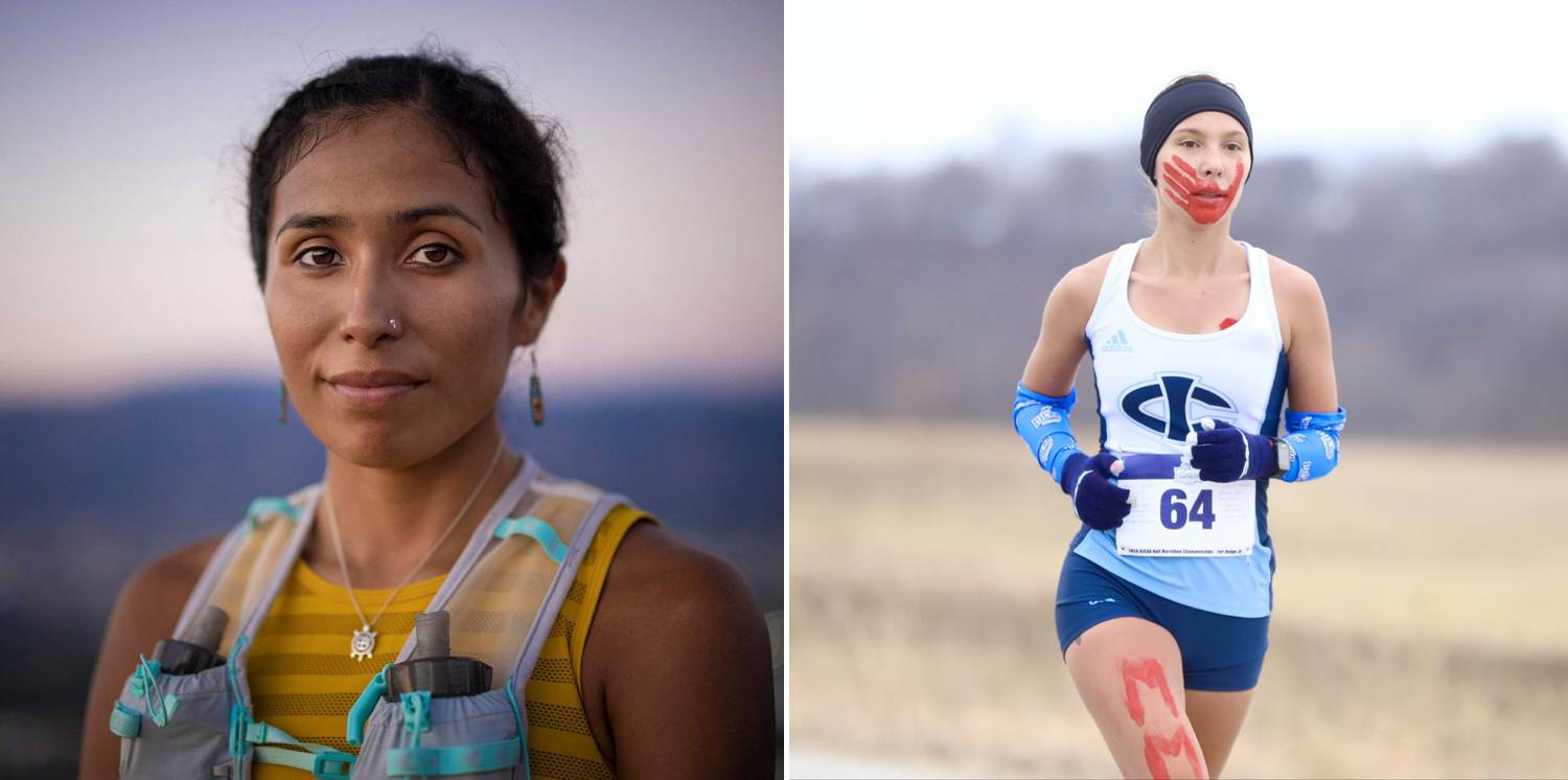 Left: Jordan Marie Brings Three White Horses Daniel photographed by Devin Whetstone. Jordan ran the 2019 Boston Marathon while wearing the red handprint. | Right: Rosalie Fish photographed by Paul DeCoursey. Rosalie competed in the Washington State high-school track and field championship with awareness symbols painted on her body.
