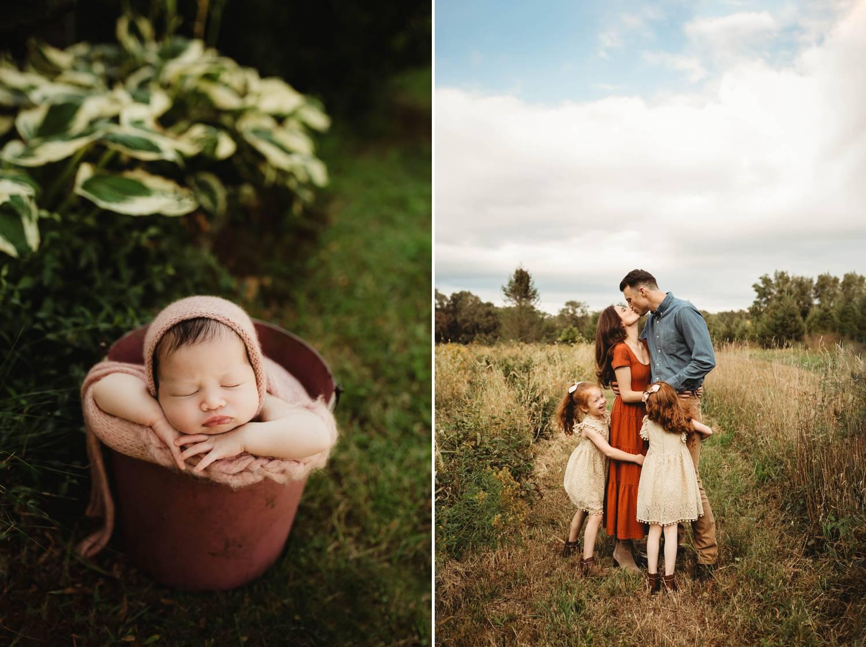 Outdoor newborn portrait. Dirt road family portrait