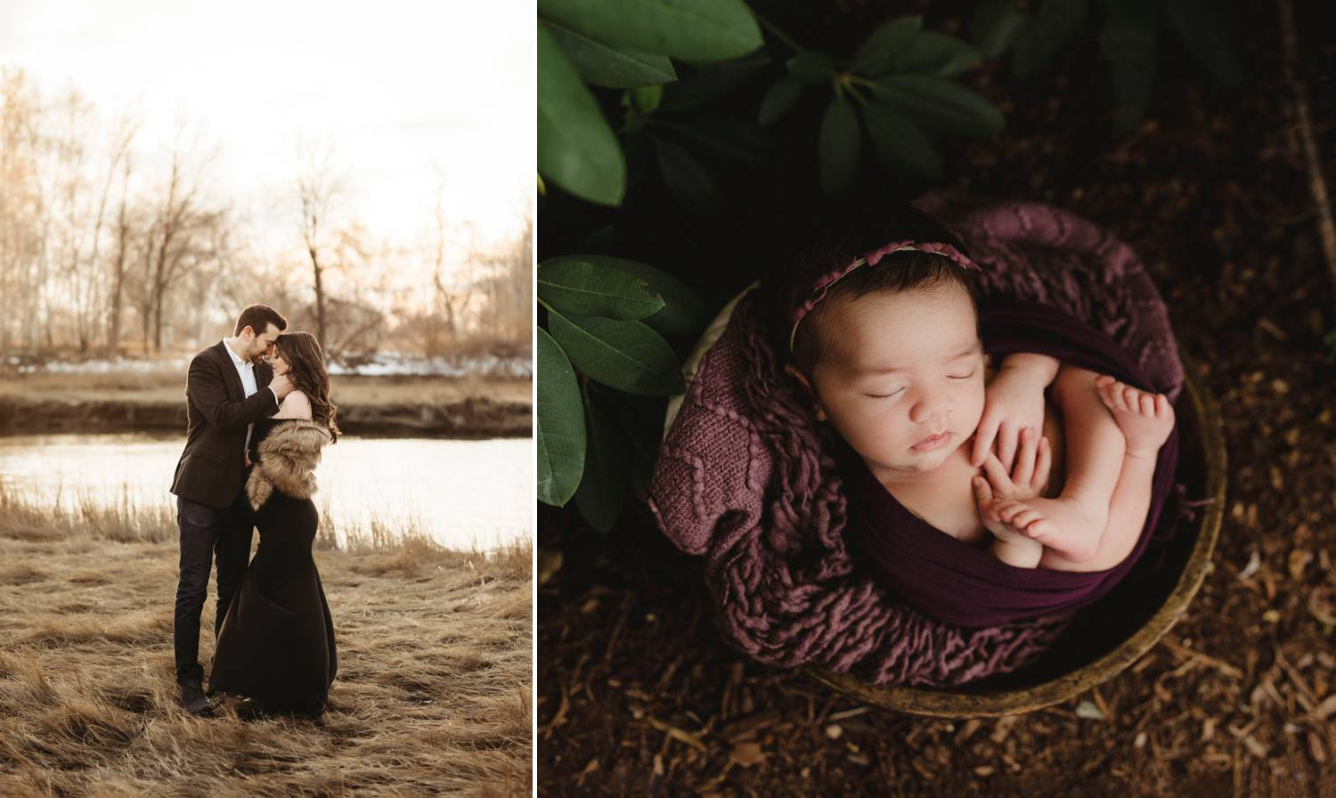 Portrait of a couple by a lake. Portrait of a baby in a basket.