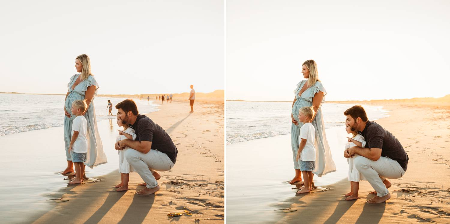 Before and after retouching family photo on the beach