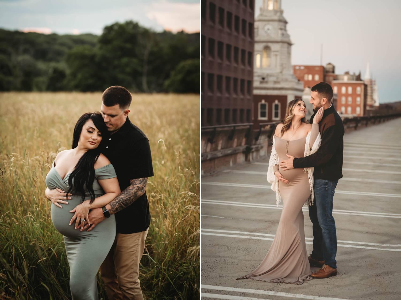 Couple maternity portrait in a field. City portrait of maternity couple.