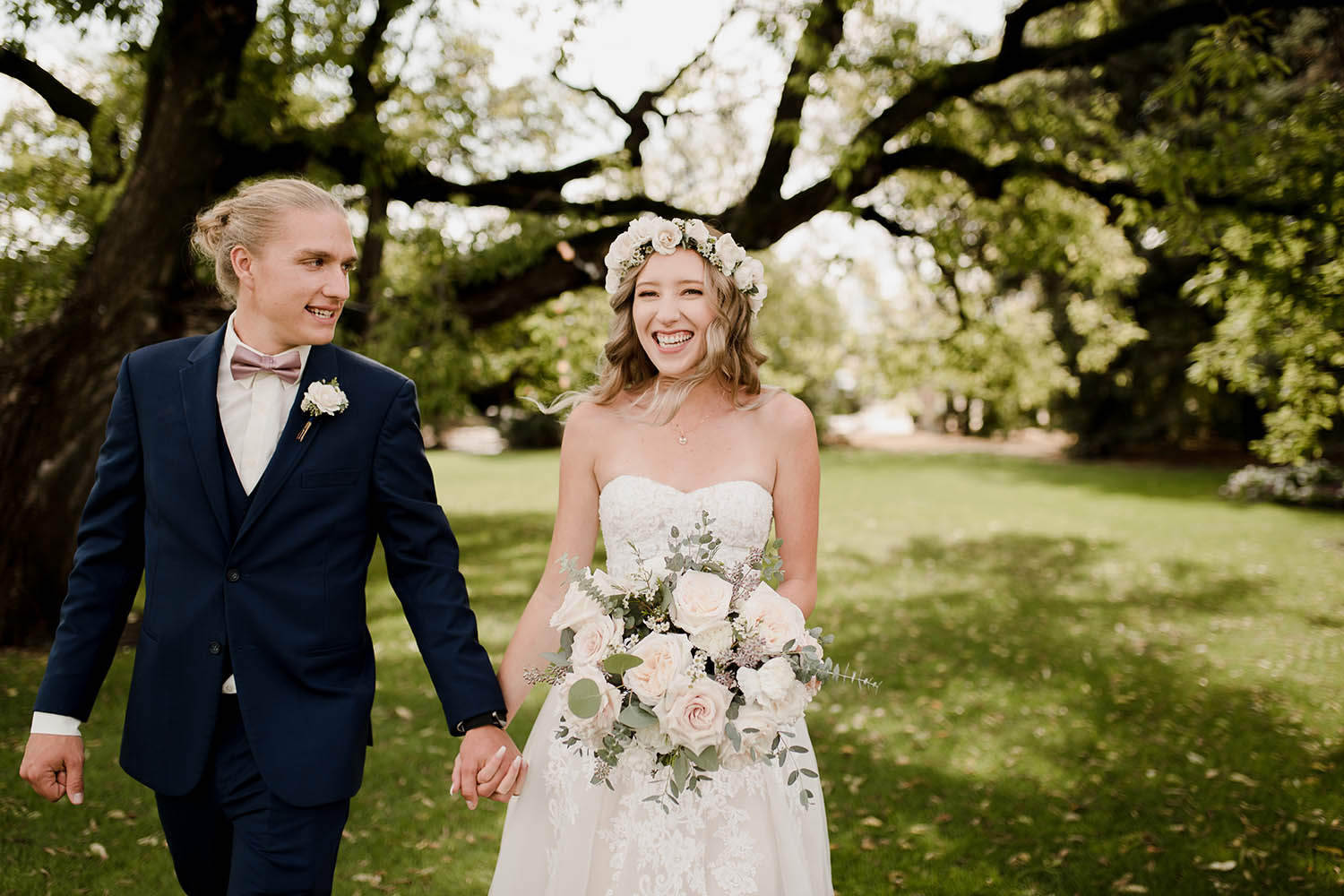 bride and groom outside for natural light portraits
