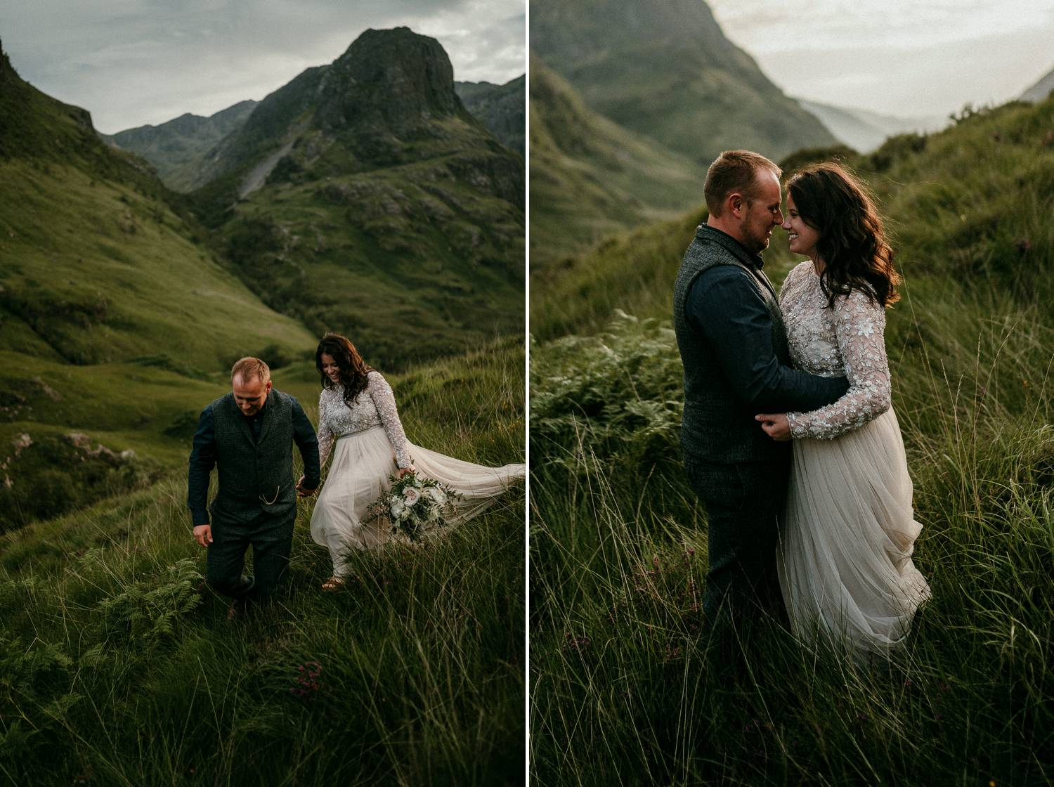 A bride and groom slowly make their way through the tall grasses in the Irish hills. Photographed by Rob Dight.