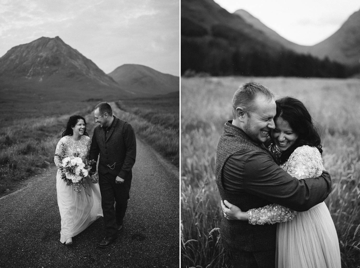 A black and white series shows a bride and groom strolling down an old country road in Ireland then embracing in the grassy hills. Elopement photograph by Rob Dight.