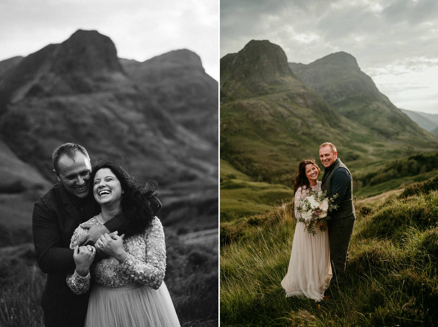 A bride and groom are photographed smiling and embracing amid the foggy hills of Ireland. Photographed by Rob Dight.