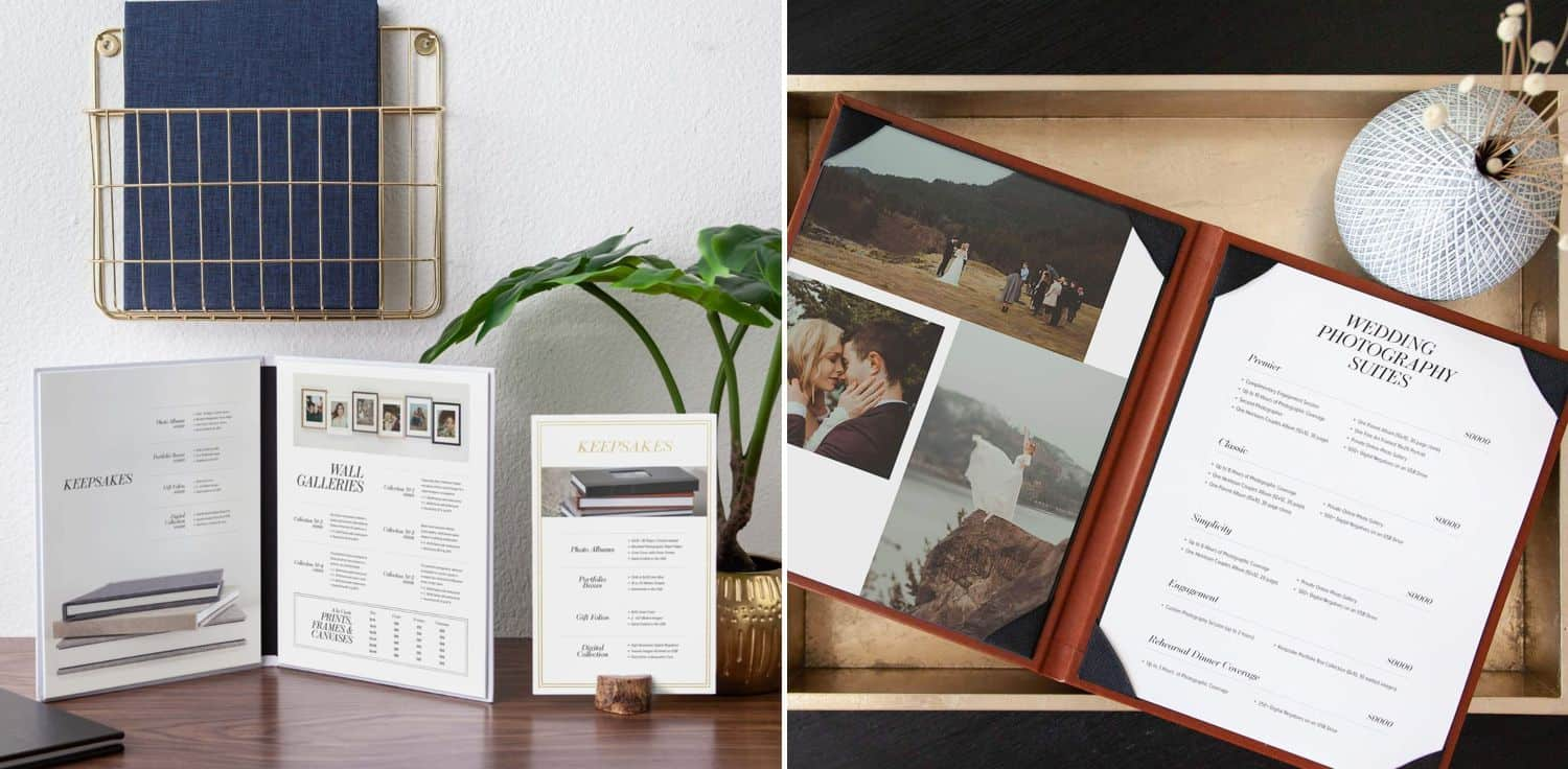 Photography price sheet templates and pricing menu suites by Design Aglow