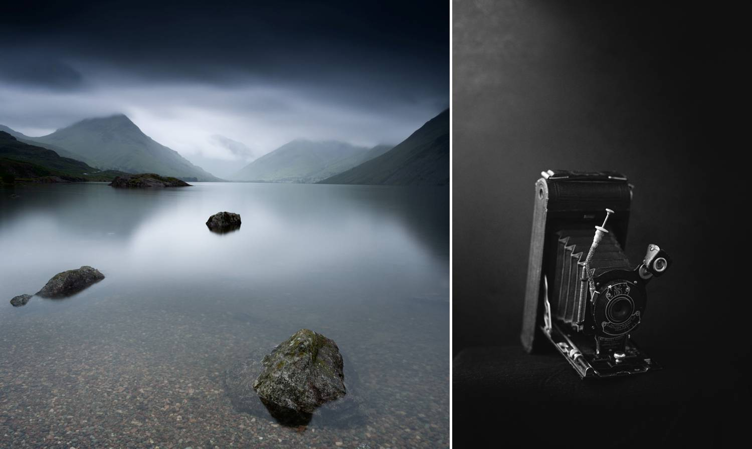 Fine art prints by Joshua Wyborn include this long exposure of a mountain lake and a black and white studio portrait of a vintage camera.
