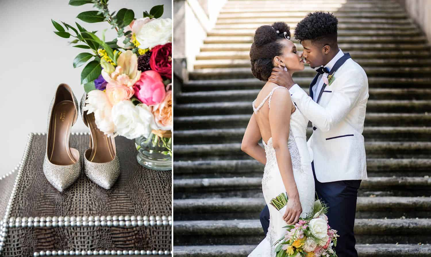A pair of gold high heels sits on a table beside a bouquet. A bride in a white strapless dress kisses a groom in a black and white tuxedo.