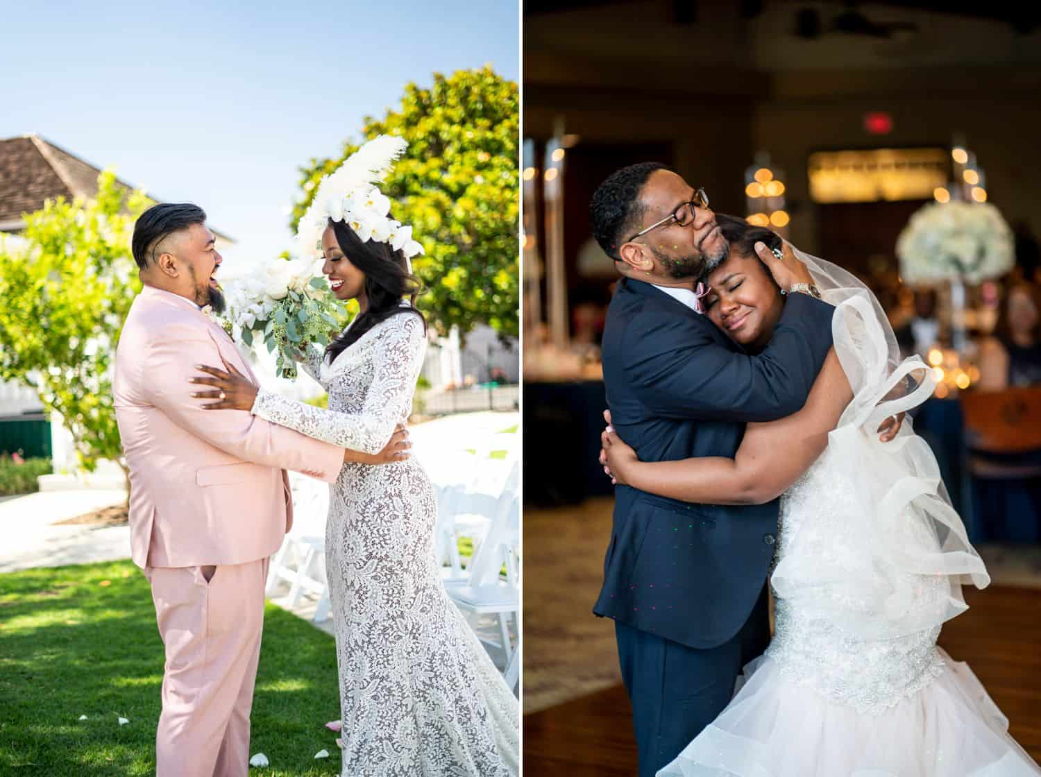 A groom in a pink suit hold a white-gowned bride in his arms. A groom in a navy tux embraces his bride who wears a white dress.