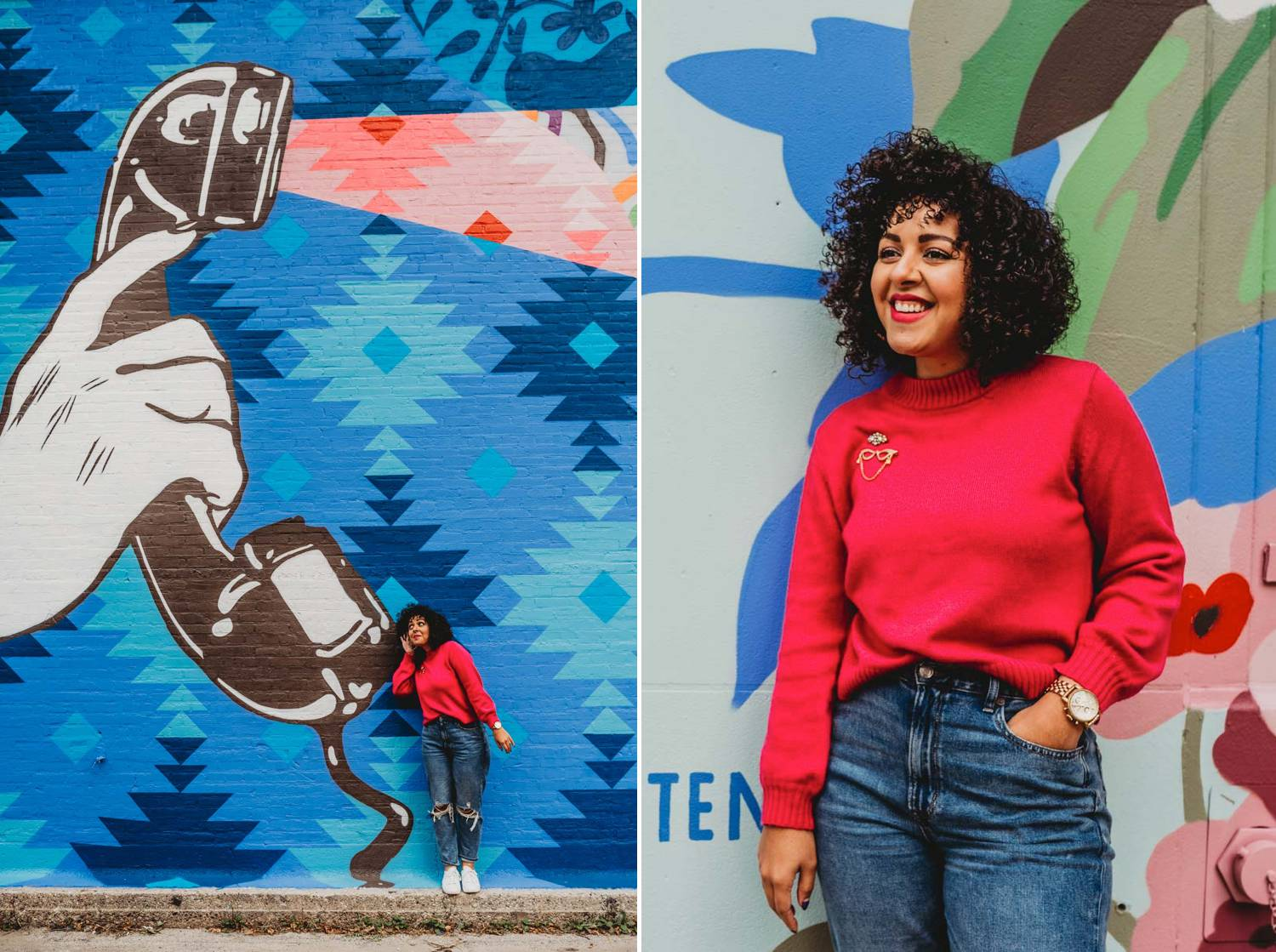 A small business owner wearing jeans and a pink sweater stands in front of a graffiti wall in downtown Atlanta