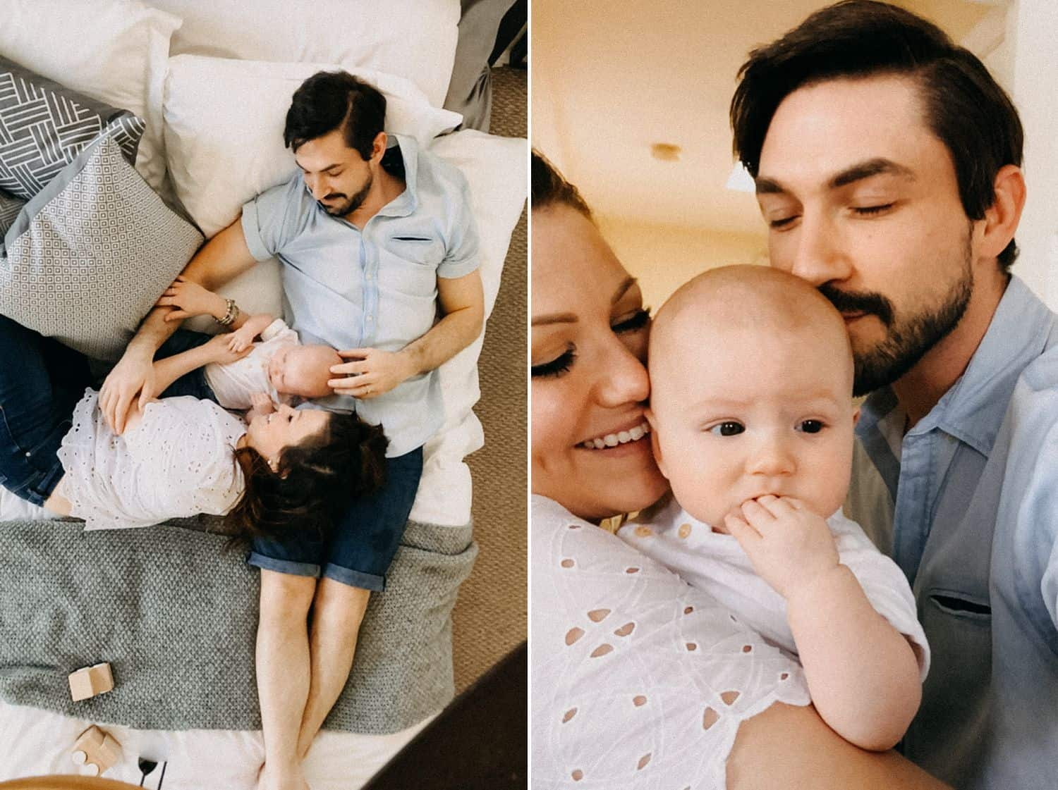 A couple poses with their baby for a series of FaceTime photos shot by Barbara O. Photography
