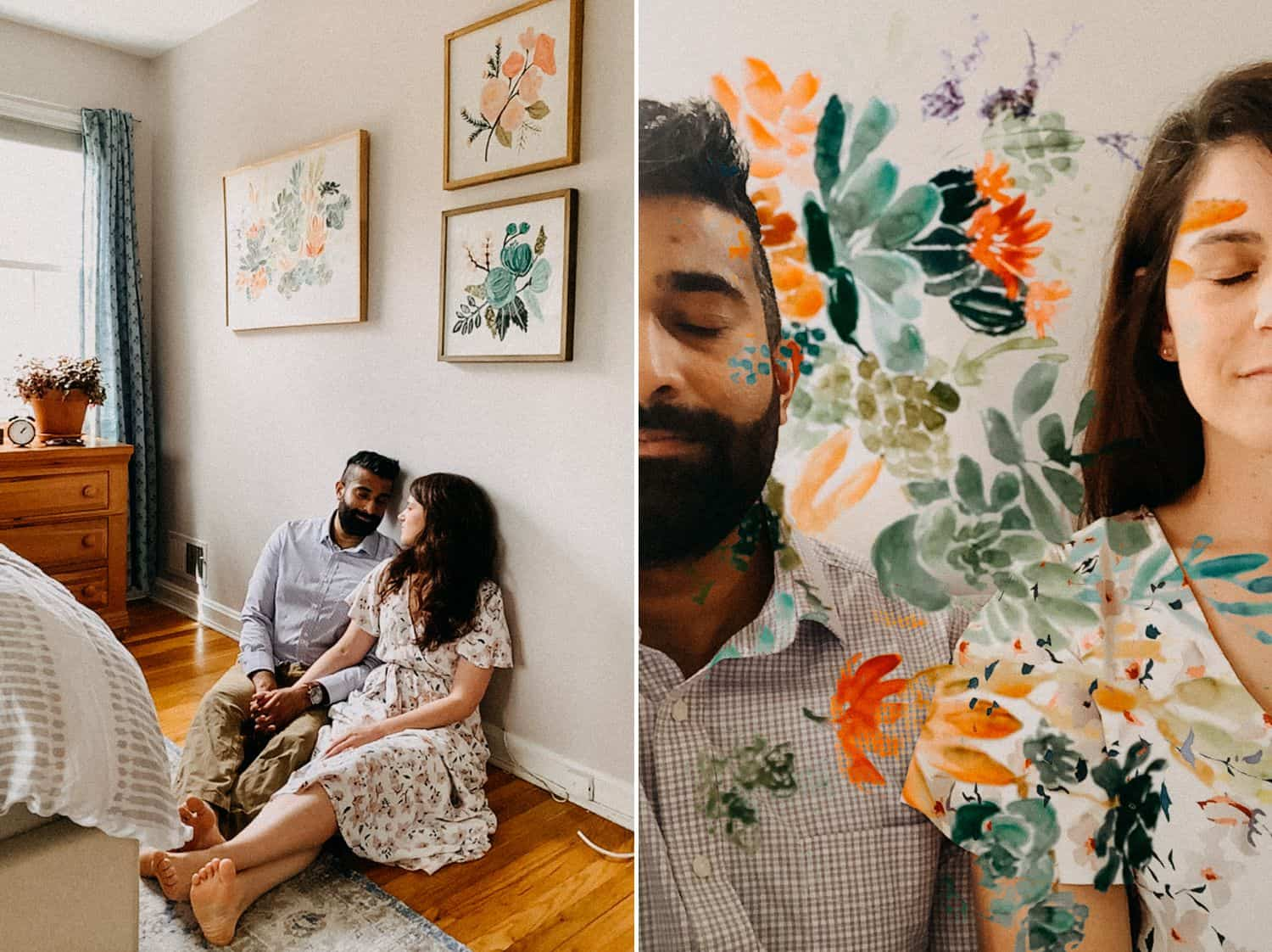 A couple poses among their floral wall art in FaceTime photos taken by Barbara O. Photography