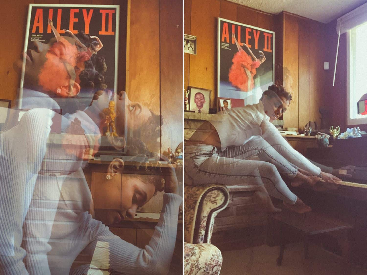 Two double exposures of a woman in her living room shot via FaceTime by Lauren Alexis
