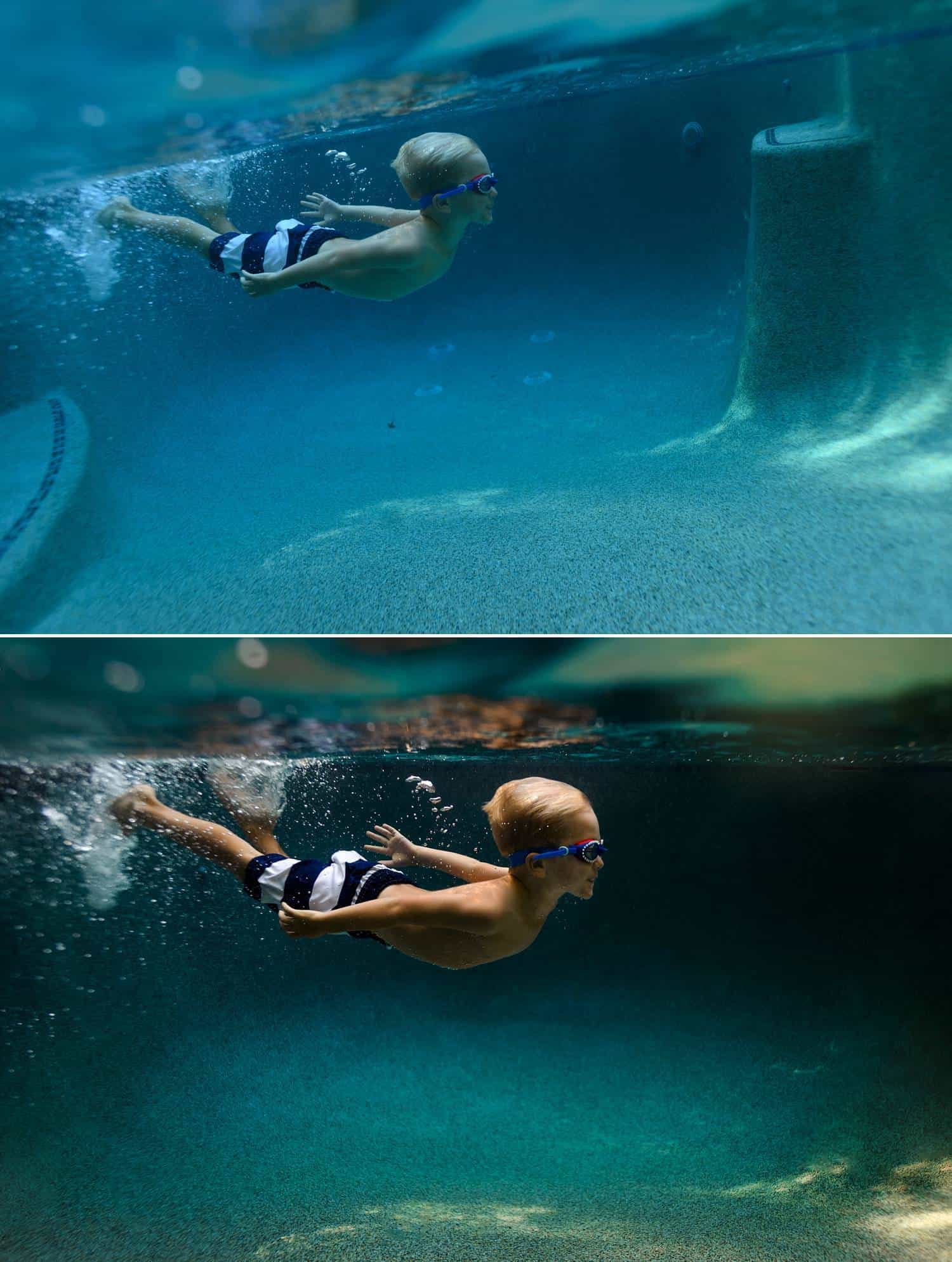 Before and after photos show the post-production process of one of Elizabeth Blank's underwater photographs. A child wearing striped swim trunks and goggles is swimming underwater with his arms stretched behind him.