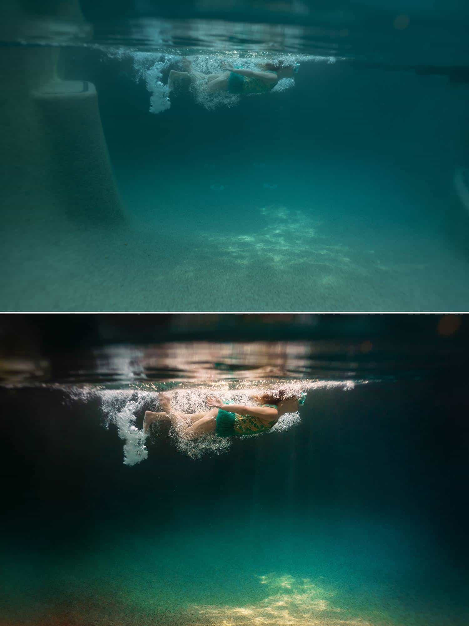 Before and after photos show the post-production process of one of Elizabeth Blank's underwater photographs
