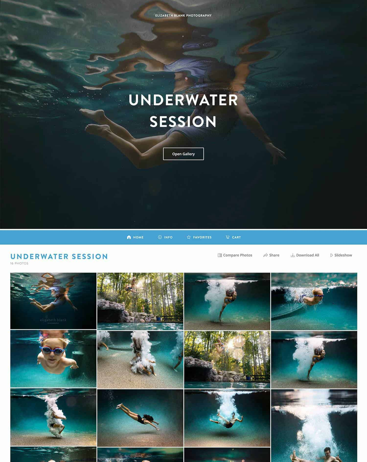 A ShootProof gallery for one of Elizabeth Blank's clients featuring children swimming underwater