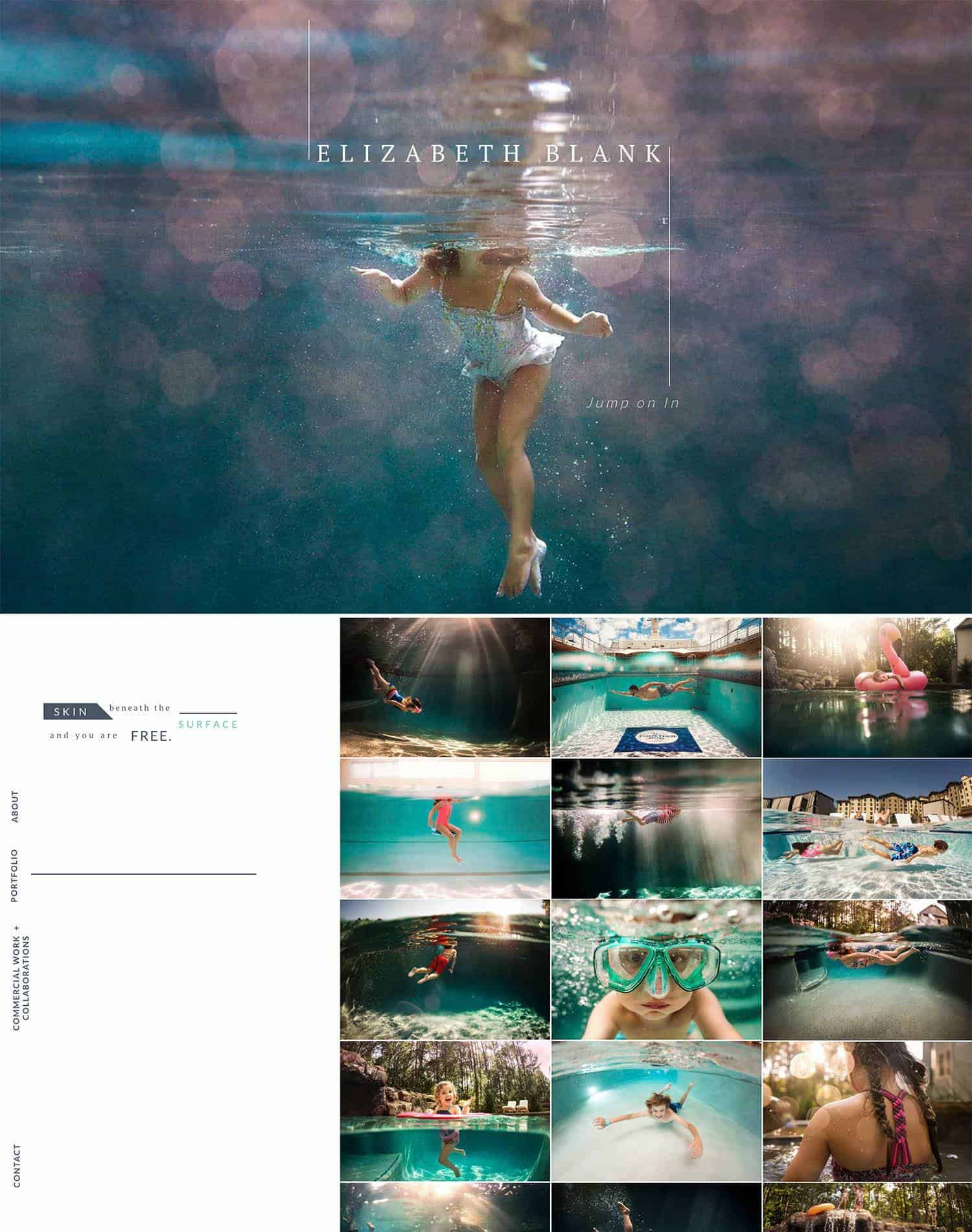 Screenshots of two pages from Elizabeth Blank's underwater photography website