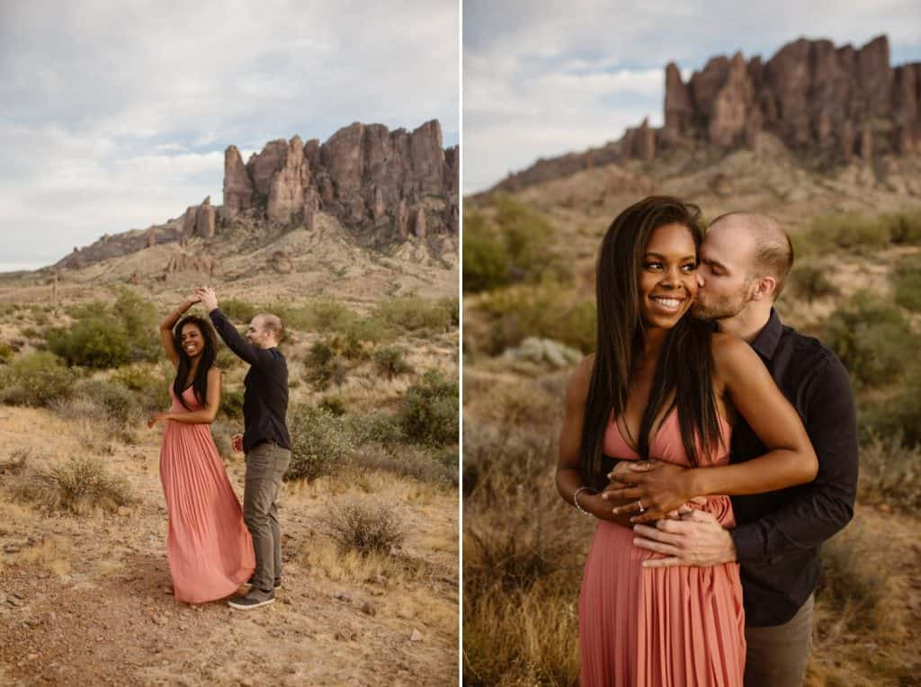 An engaged couple holds each other close during their desert engagement session