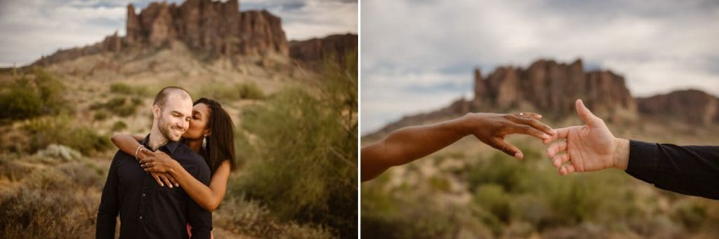 Portraits of a mixed-race couple in the desert