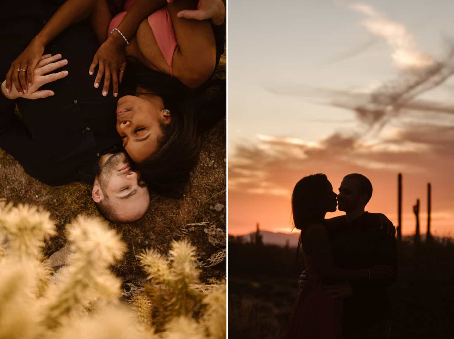 A young couple snuggles close at sunset in the desert