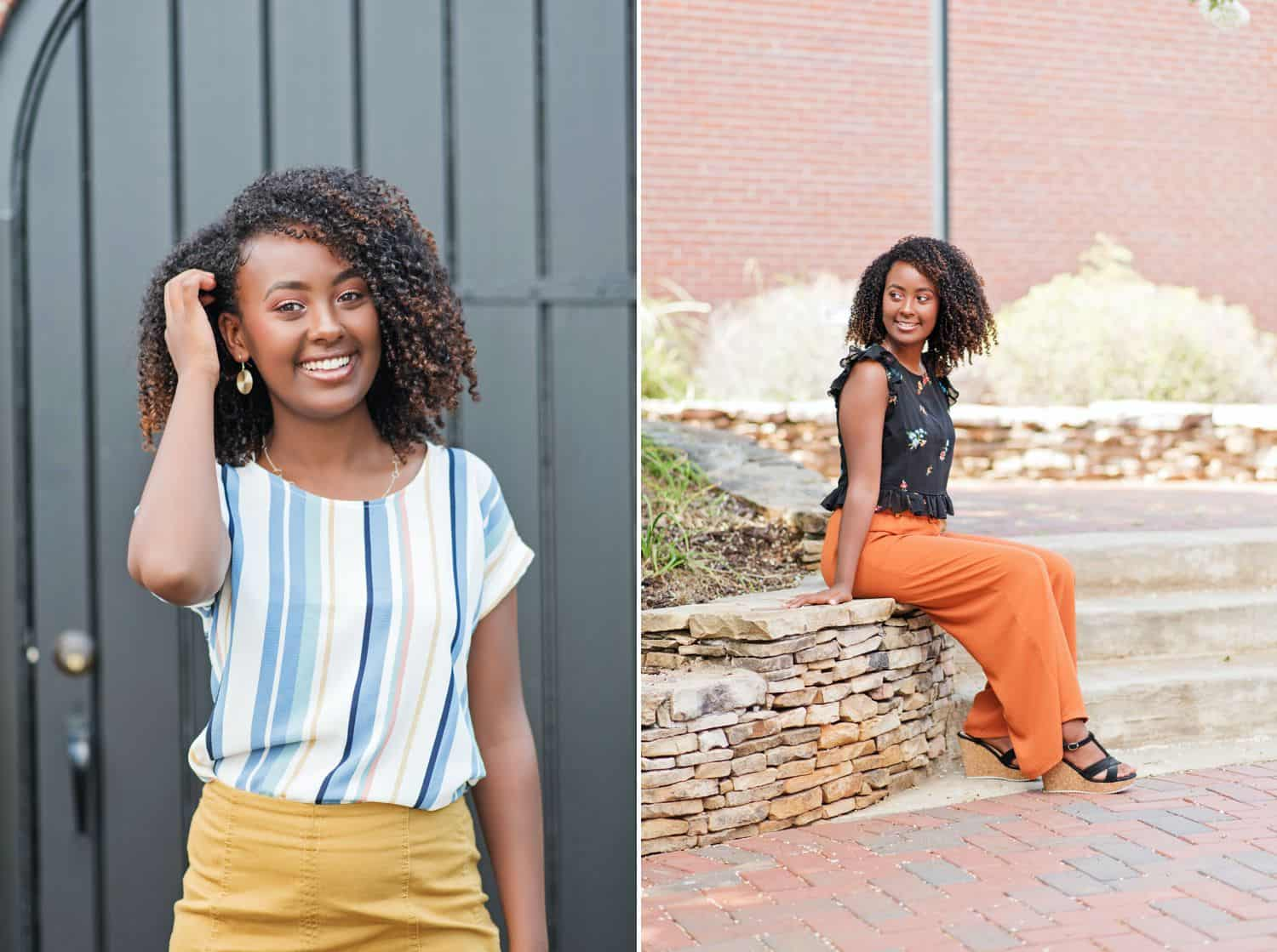 A high school senior with curly hair poses in brightly colored outfits against simple backdrops