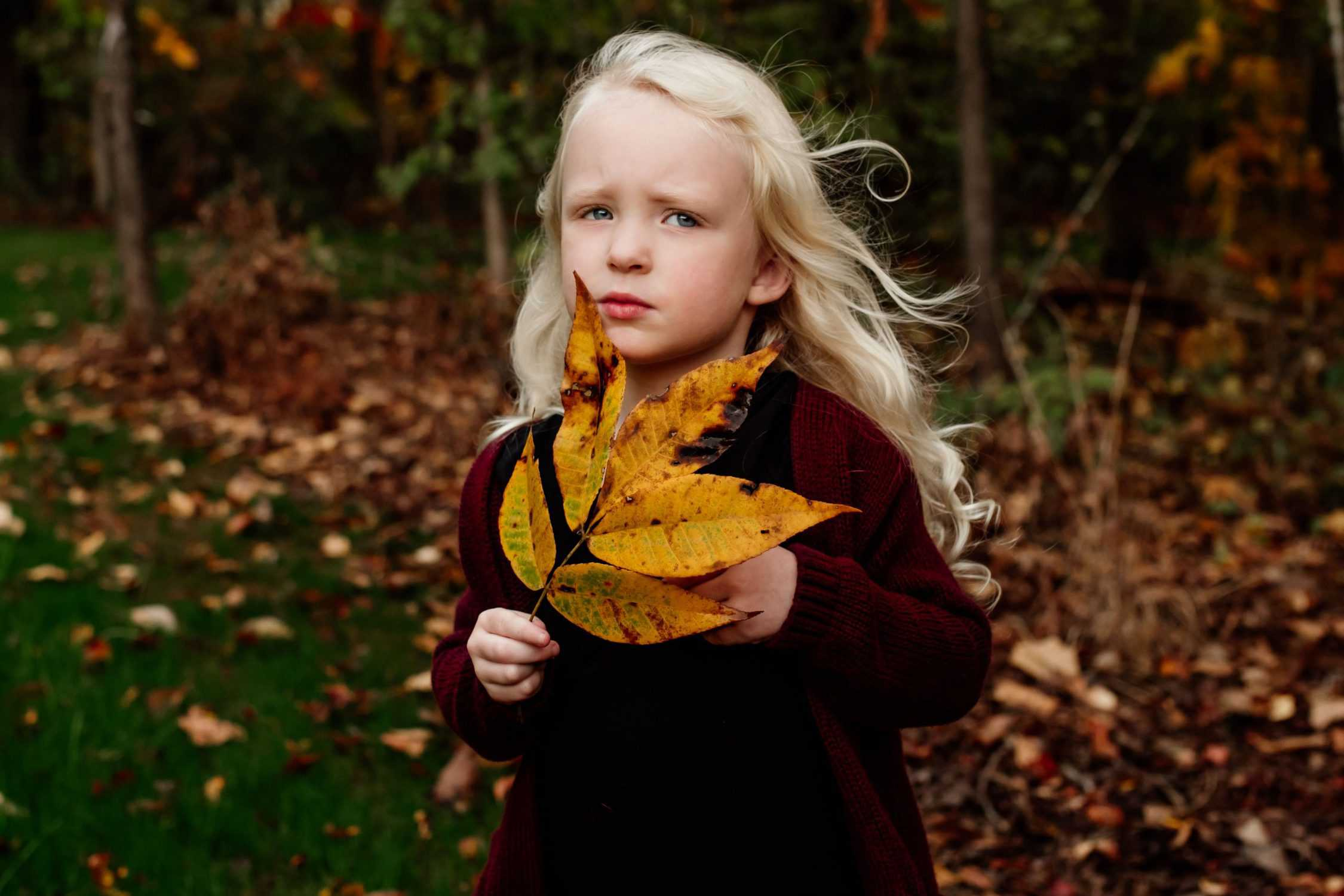 A little girl with blonde hair holding a large yellow leaf near her face
