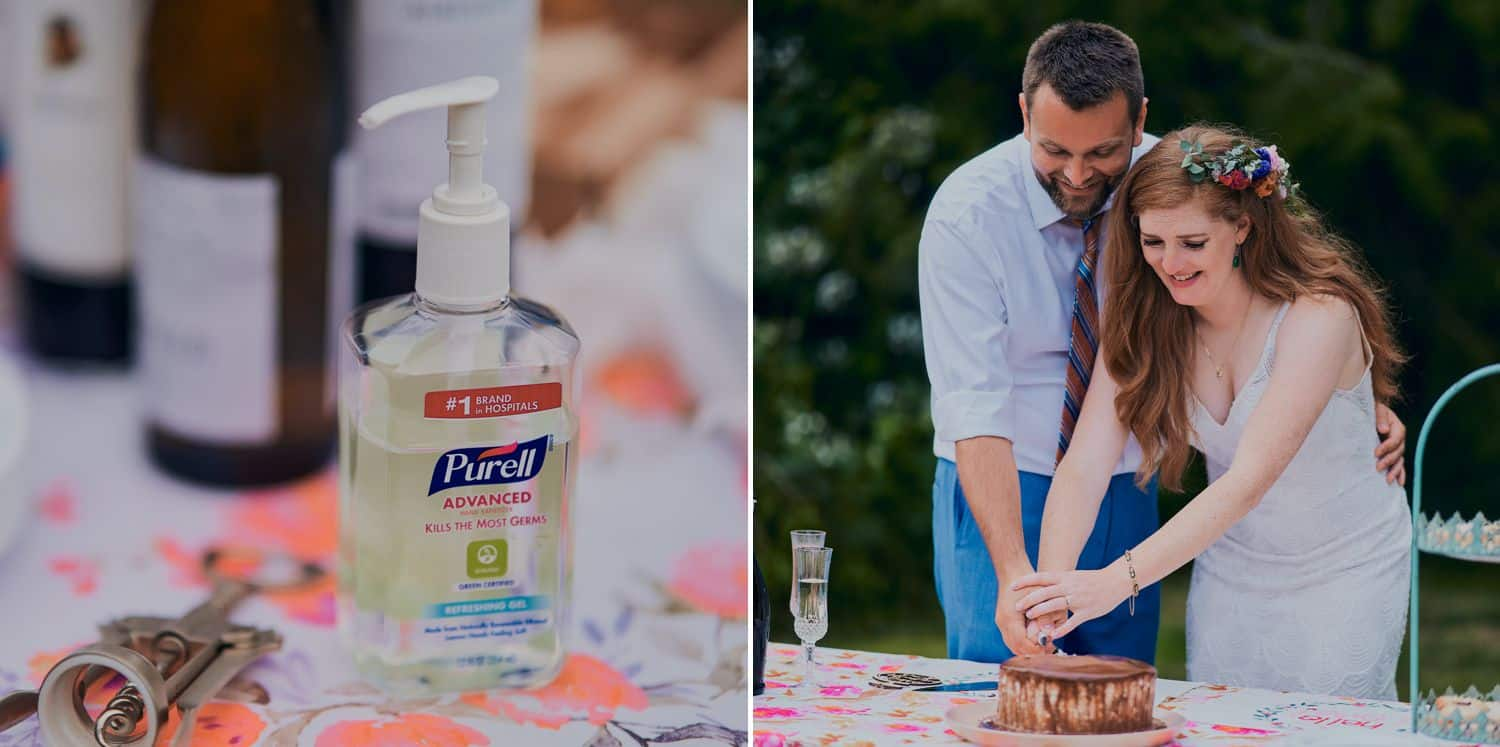 A bottle of hand sanitizer sits on the cake table at a socially distanced wedding held outside during COVID-19
