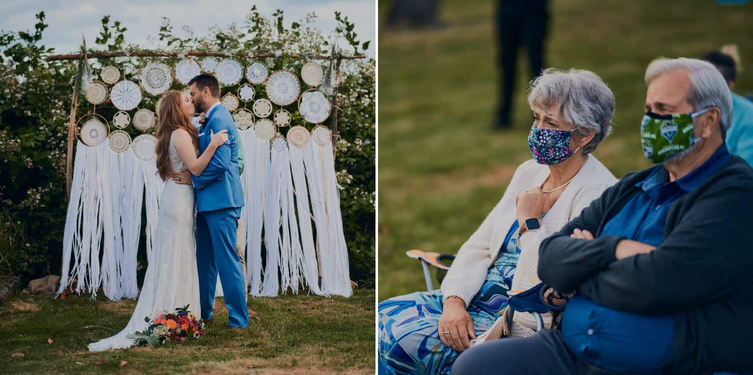 A couple gets married outside with their guests looking on from a distance wearing masks