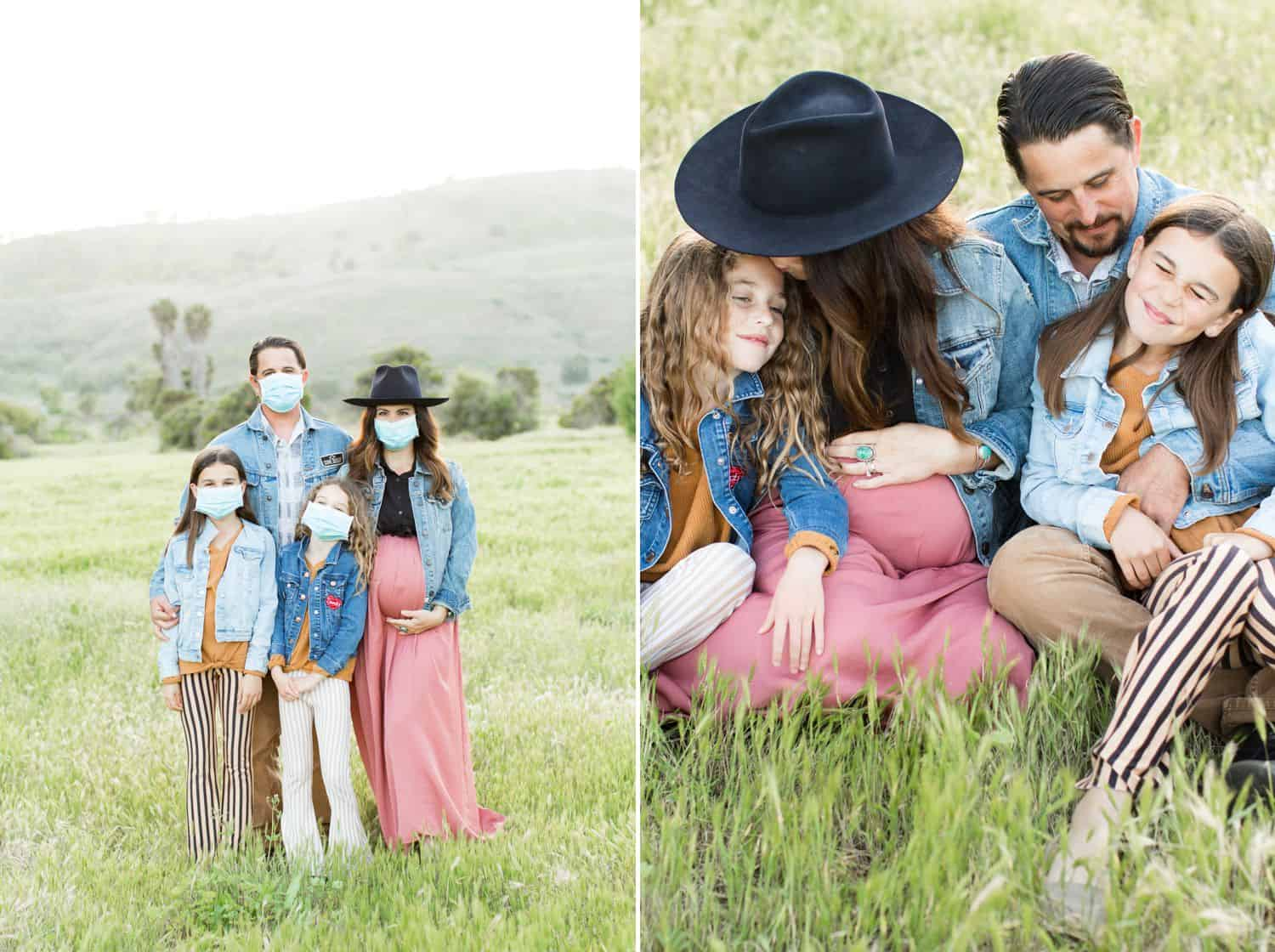 A family is photographed in a field wearing medical masks during coronavirus 2020